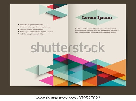 Brochure template with colorful abstract background, retro, eps10 vector