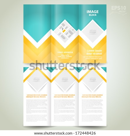 brochure tri-fold design template rhombus, block for images - stock vector
