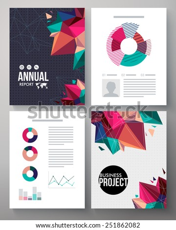 Brochure vector template design for an annual business project with editable text, analytical graphs and charts and a dynamic cover design of multicolored crystals or points for a stylish presentation - stock vector