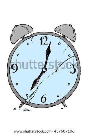 Broken alarm clock. Colorful hand drawn vector stock illustration - stock vector