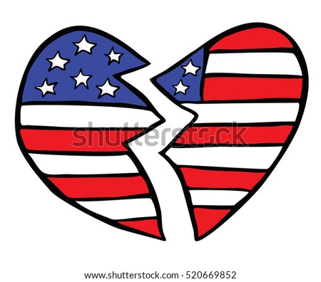 Broken American Heart: Hand-drawn depiction of our fractured nation after the recent Presidential Election.This file is a vector and can be customized as you see fit or left as is.