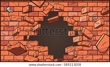 Broken Brick Wall Vector Clip Art Illustration With Simple Gradients Some Elements On Separate