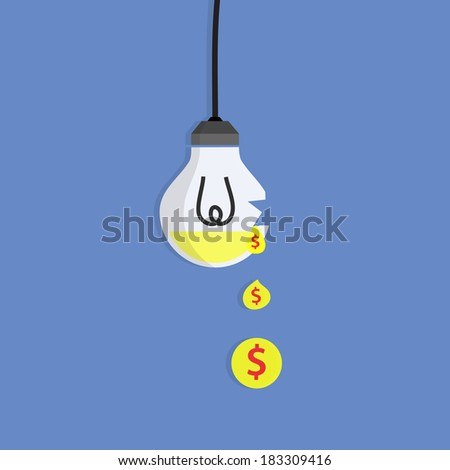 Broken Bulb, Business idea - stock vector