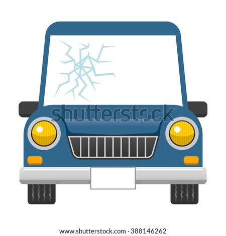 Broken car windshield - stock vector