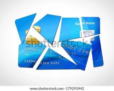 Broken credit card default debt bankruptcy symbol isolated vector illustration - stock vector