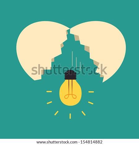 Broken egg with light bulb Idea, Idea concept - stock vector