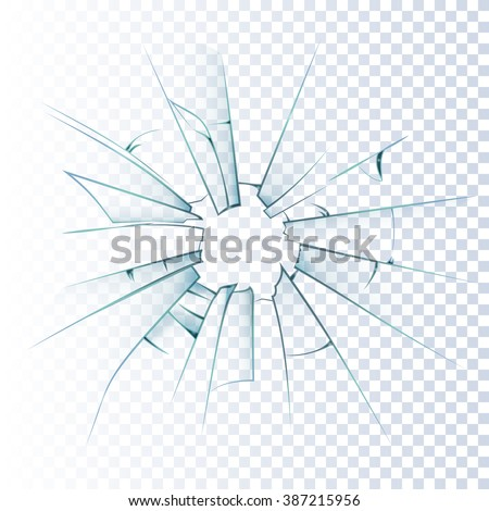 Broken frosted window pane or front door glass background decorative  realistic daylight design vector illustration  - stock vector