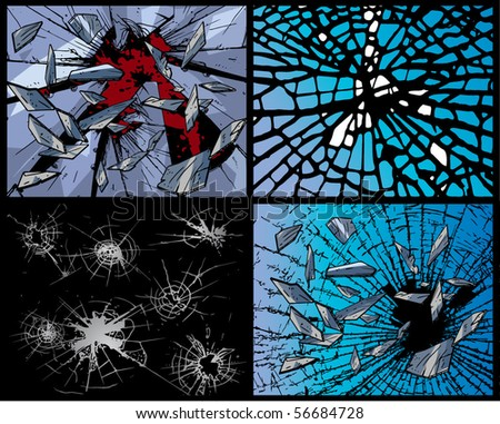 Broken glass - backgrounds - stock vector