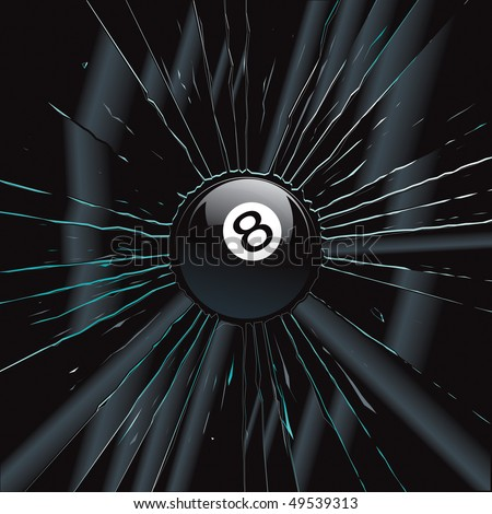 Broken Glass 2 8 Ball Vector Drawing - stock vector