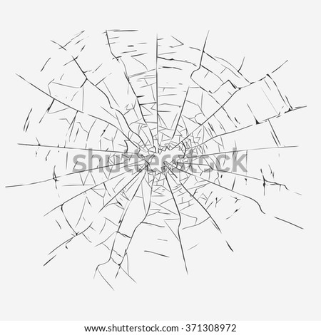 Broken glass with cracks and hole, bullet crack hole in glass. Crack  Vector template gray color picture