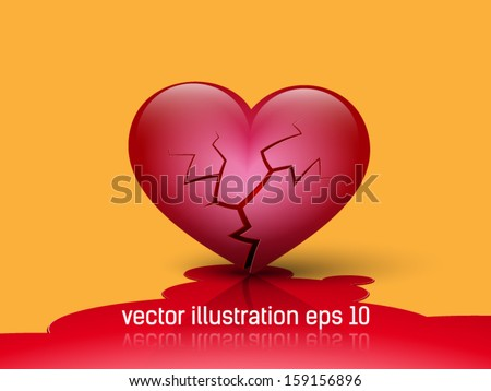 broken heart - stock vector