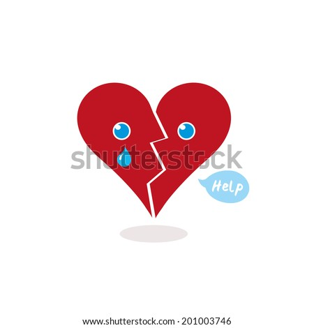 Broken Heart Calling for Help, Cartoon Vector Illustration. A broken red heart crying and asking for help (little speech balloon). The heart is cracked in half and a tear is falling from its right eye - stock vector