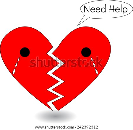Broken Heart Crying for Help, Cartoon Illustration. A broken red heart crying and asking for help . The stylized heart is cracked in half and a tear is falling from eye  - stock vector