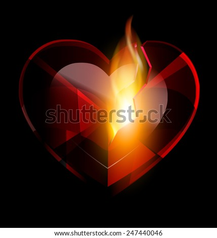 broken heart-crystal and flame - stock vector