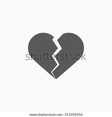 broken heart icon - stock vector