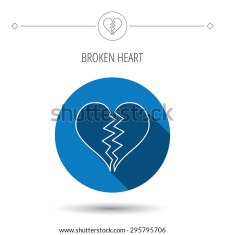 Broken heart icon. Divorce sign. End of love symbol. Blue flat circle button. Linear icon with shadow. Vector - stock vector