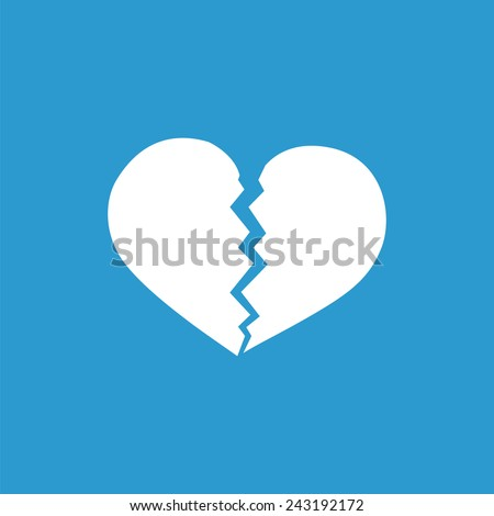 broken heart icon, isolated, white on the blue background. Exclusive Symbols  - stock vector