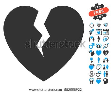 Broken Heart Icon Bonus Lovely Symbols Stock Vector 582558922