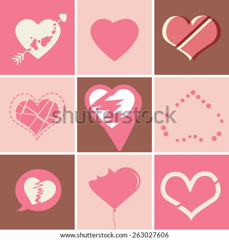 Broken Heart Icons Set, ideal for valentines day and wedding vector. - stock vector