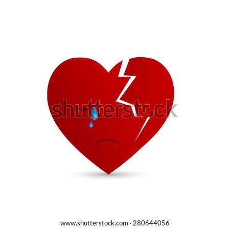 Broken heart illustration - crying - stock vector