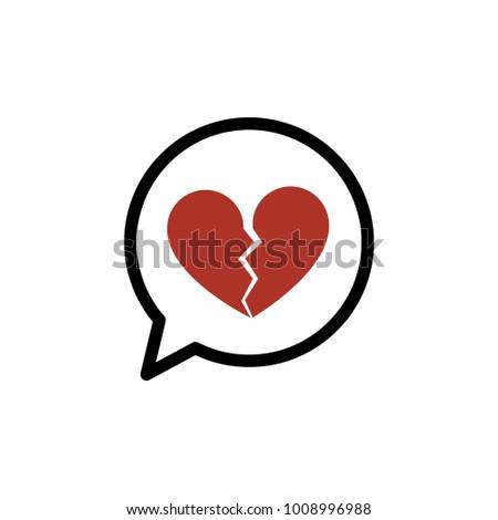 Broken Heart Speech Bubble Valentine Heart Stock Vector 2018