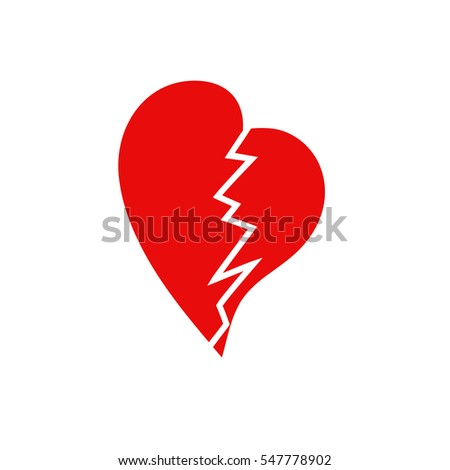 Broken heart, isolated on a white background. Vector. Icon.Design element