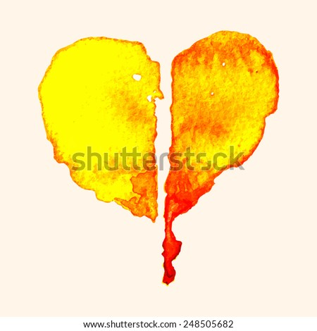 Broken heart of painting with watercolor on paper, illustration design. - stock vector