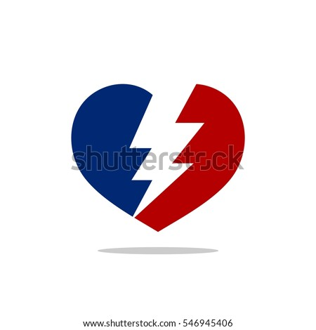 Broken Heart Thunderbolt Logo Template
