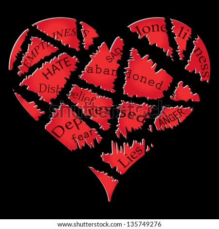 Broken heart vector - stock vector