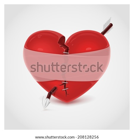 broken heart vector - stock vector