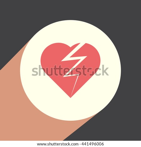 Broken heart vector icon. Divorce symbol. End of love sign.