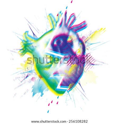Broken heart vector illustration - stock vector