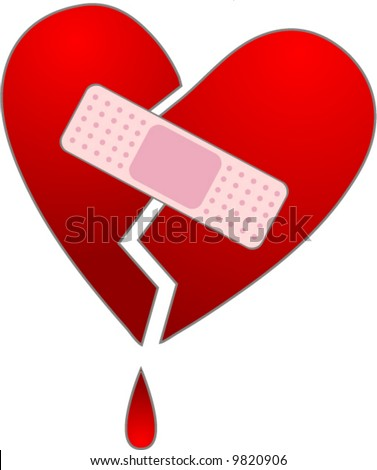 Broken heart with a band aid. - stock vector