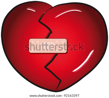 Broken heart with a band aid vector clip art - stock vector