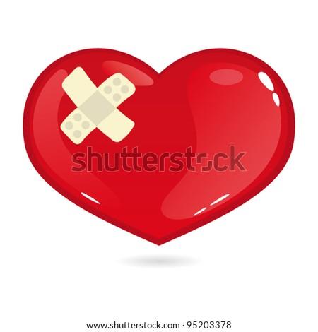 Broken heart with bandage - stock vector