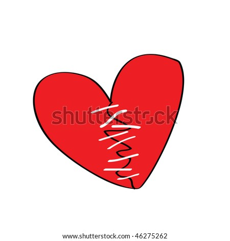 broken heart with stitches, more heart shape cartoon is in my profile - stock vector