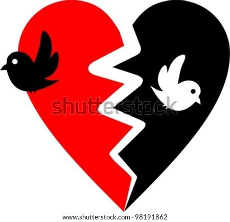 Broken Heart Images Broken heart with two birds