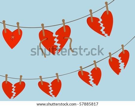 Broken Hearts Awaiting Repair hang from wooden pegs on string line editable vector illustration - stock vector