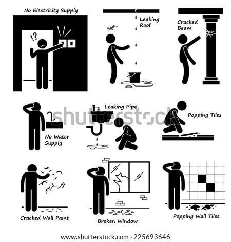 Broken House Old Building Problems Stick Figure Pictogram Icons - stock vector