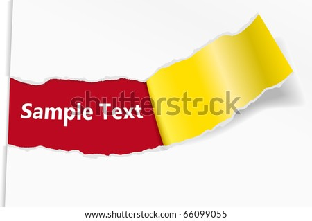 Broken off sheet of paper with a place for text. Vector illustration - stock vector