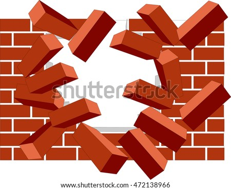 broken pieces of crumbling brick wall