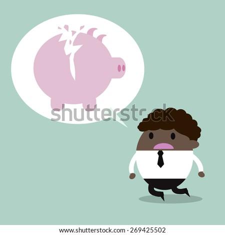 broken piggy bank. Depressed business man - stock vector