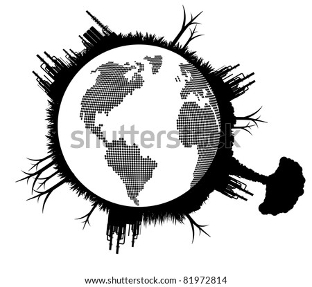 Broken pollution earth globe vector background concept - stock vector