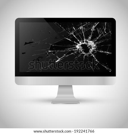 Broken screen of a computer - stock vector
