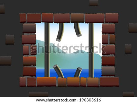 Broken up bars of a jail house window from where a prisoner has escaped. - stock vector
