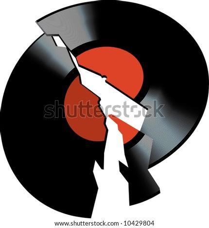 Broken vinyl disk. Vector - stock vector