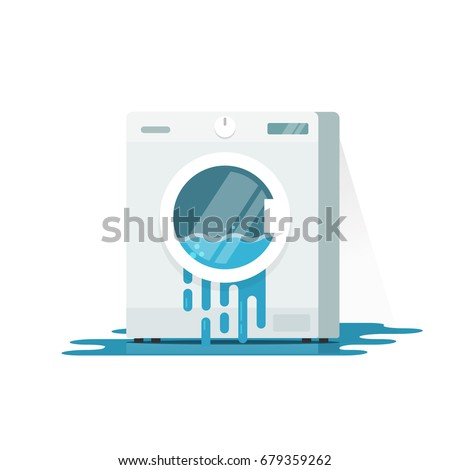 broken washing machine clipart. broken washing machine vector illustration, flat cartoon damaged washer with flowing water on floor need clipart s