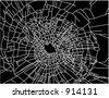 Broken window - white crack trace on black background - stock vector