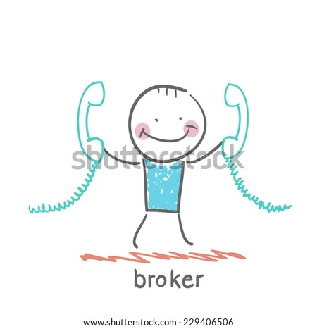 broker with two handsets - stock vector