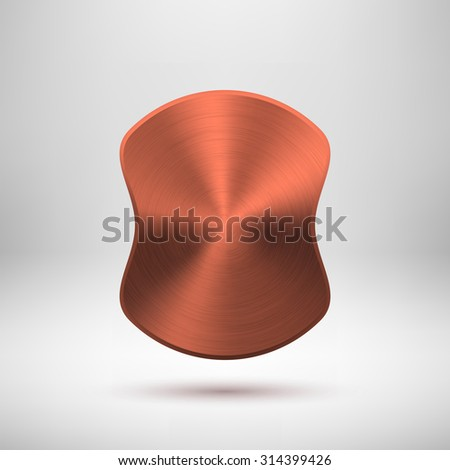 Bronze abstract badge, blank button template with metal texture, realistic shadow and light background. Vector illustration. - stock vector